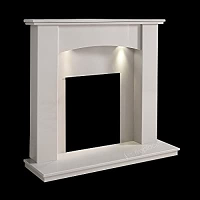 "White Marble Stone Monden Curved Surround Wall Gas Electric Fireplace Suite with Spotlights - 1"" Rebate"