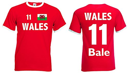 World-of-Shirt Herren Retro T-Shirt Wales EM 2016 Bale Nr.11|rot-XL