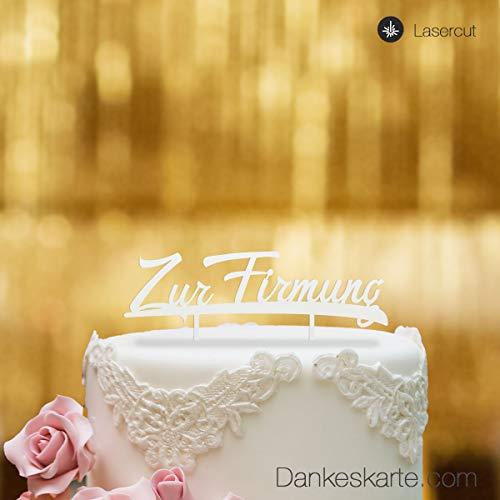 Dankeskarte.com Cake Topper Zur Firmung - für die Torte zur Firmung - Acrylglas Weiss - XL - Tortenaufsatz, Kuchen, Tortendeko, Tortenstecker, Kuchanaufsatz, Kuchendeko