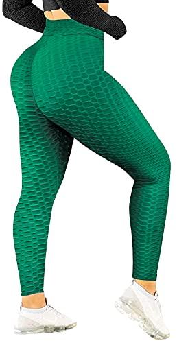 Love My Fashions Mujeres Panal Crujido Texturizado Anticelulitis Sexy Alto Cintura Extremo Aptitud física Yoga Pantalones Arriba Ascensor Gimnasio Pulse Arriba Polainas Entrenamiento