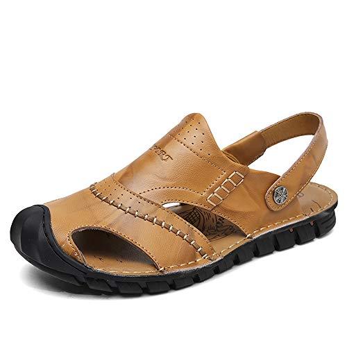 ZDYGJH Sandalias para Hombre Sandalias para Hombre Zapatillas de Moda Zapatillas Slip On Style OX Piel Exquisita Costura anticolisión Toe para Hombres y niños (Color : Yellow Brown, Size : 44 EU)