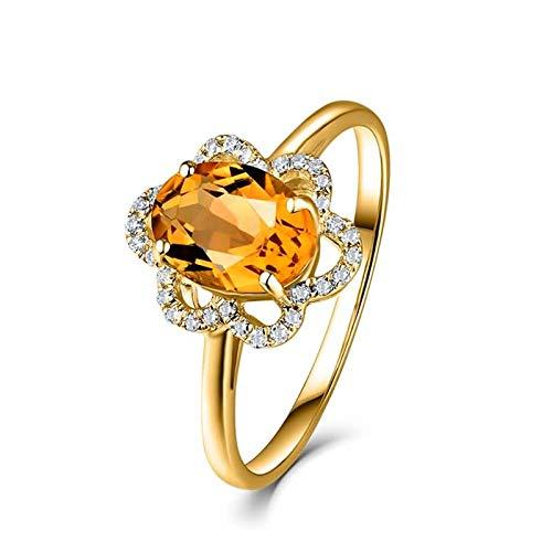 AueDsa Anillo Oro Anillos Oro Amarillo 18 Kilates Mujer Flor con Oval Citrino Amarillo Blanco 1.2ct Anillo Talla 8