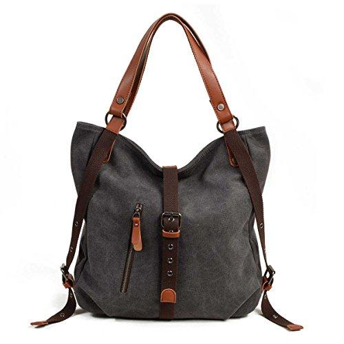 VZVABAG Damen Handtasche Rucksack Frauen Schultertasche Canvas Shopper Tasche Vintage Rucksackhandtasche Verstellbare Schultergurte (Grau)