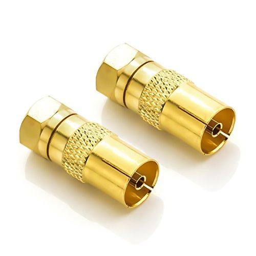 deleyCON SAT Antennenadapter Kabel auf SAT Adapter Set F-Stecker auf IEC-Buchse Kupplung Verbinder Koaxial Adapter SAT Kabel Vergoldet - 2 Stück