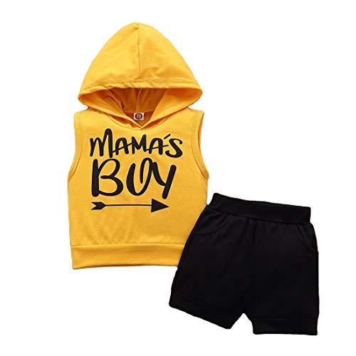 Verve Jelly Baby Jungen Outfits Mama's Boy Ärmellose Hoodie Tops und Shorts Set Neugeborene Jungen Sommerkleidung 0-3 Monate