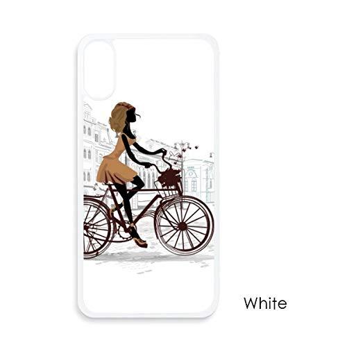 beatChong fiets dames Frankrijk illustratie patroon voor iPhone X-hoezen wit telefoonhoes Apple cover case cadeau