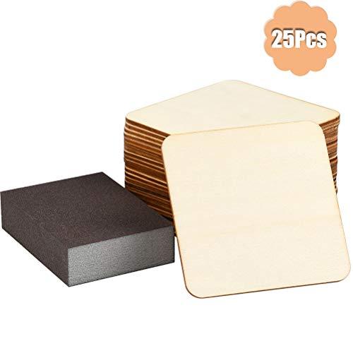 YOTINO Sperrholz Holzplatte 10 * 10cm DIY Sperrholzplatte für Modell Requisit Basteln etc. mit Polierschwamm(24 Pcs Sperrholz und 1 Stück Schwamm)