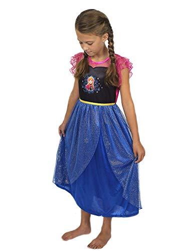 Disney Frozen Elsa Anna Girls Fantasy Gown Nightgown (8, Blue/Pink)