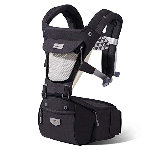 SUNVENO Hipseat Baby Carrier Ergonomic Baby Front Back Carrier Fast Wear Baby Holder Multifunction Baby Kangaroo Carrier for All Season Openable Mesh Window for 7-45 lbs Babies, 3-36 Months