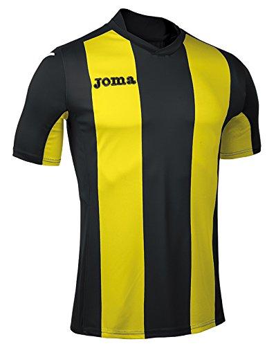 Joma Pisa Camiseta de Juego Manga Corta, Hombre, Negro/Amarillo, XL