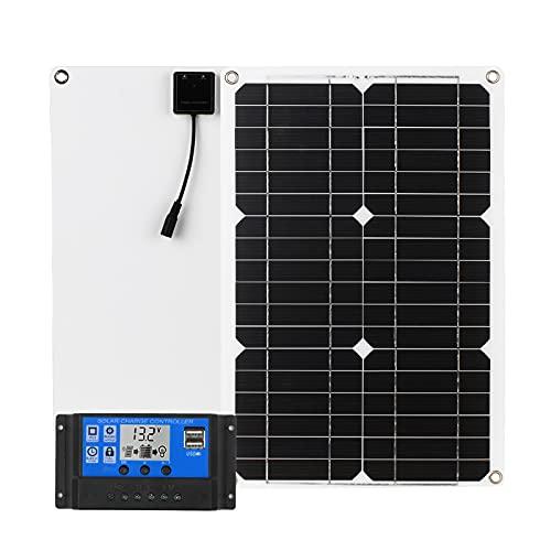 Zootealy 18W 12V Kit de panel solar Doble puerto USB Módulo monocristalino fuera de la red con controlador de carga solar Kits de cables de conexión SAE