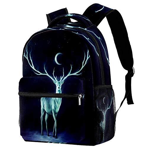 Mochila escolar de ciervo, mochila para libros, informal, para viajes, estampado 7 (Multicolor) - bbackpacks004