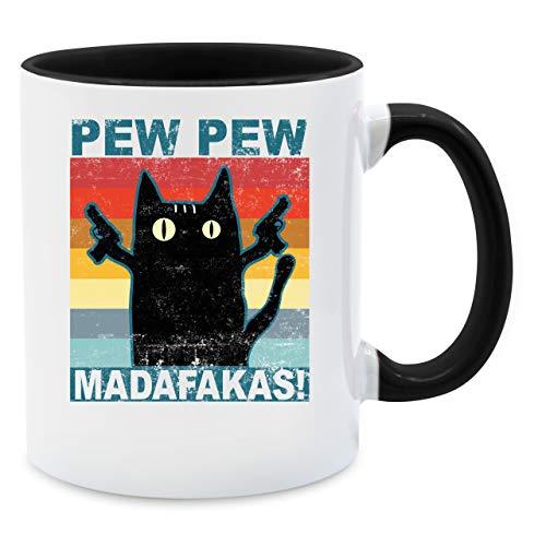 Shirtracer Statement Tasse - Pew Pew Madafakas Katze Vintage - Unisize - Schwarz - Spruch - Q9061 - Tasse für Kaffee oder Tee