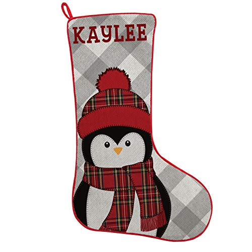 Let's Make Memories - Personalized Family Stockings - Custom Wintry Plaid Christmas Stocking with Your Name - Adorable Rustic Holiday Characters - 19' - Penguin
