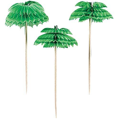 Amscan 401200 Wood and Paper Palm Tree Honeycomb Picks-12pcs, Green, 7.6cm
