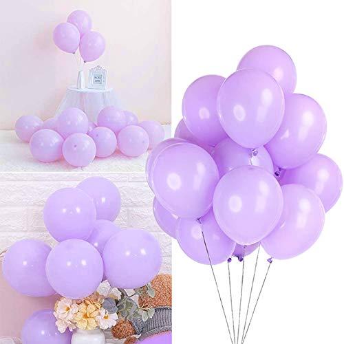 Sunshine smile Pastel Globos,Macaron Latex Balloon,Globos de Cumpleaños,Globos de Helio,Globos Boda,para Cumpleaños Decoración Fiesta Aniversario Baby Shower Comunión (Morado 100 Piezas)