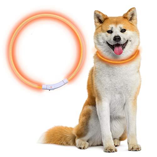 LED Collar Perro Collar de Seguridad, Recargable por USB, Longitud Ajustable de 70 CM, con Tres Modos de Iluminación para Perros Y Gatos (Naranja)