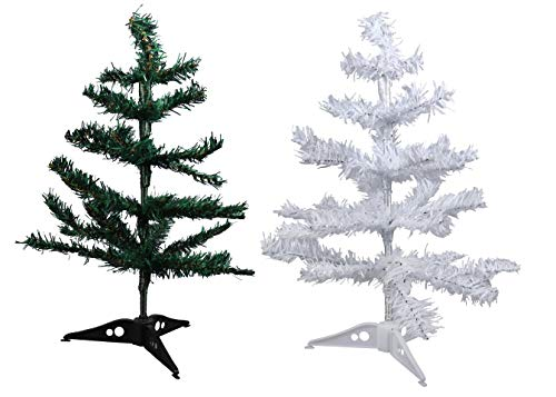 Christmas House Tabletop Artificial Holiday Christmas Trees 1 White 1 Green (Set of 2)