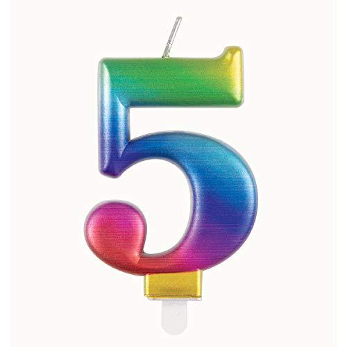 Unique Party 19635 - Vela de cumpleaños (número 5), diseño de arcoíris metálico