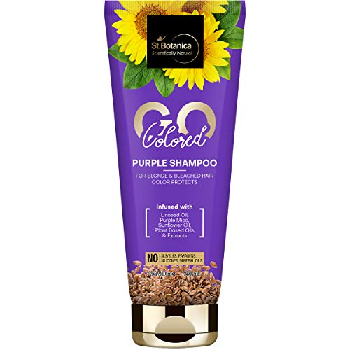 StBotanica GO Colored Purple Hair Shampoo - With Linseed, Purple Mica, Sunflower Oil, No SLS / Sulphate, Paraben, Silicones, Colors, 200 ml