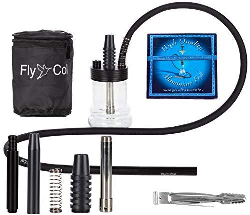FlyCol Nano 1 Mini Shisha | Travelshisha Wasserpfeife mit Zubehör | Glas Travel Hookah für unterwegs kleine Minishisha Schlauch Set Zange Mundstück (Schwarz)