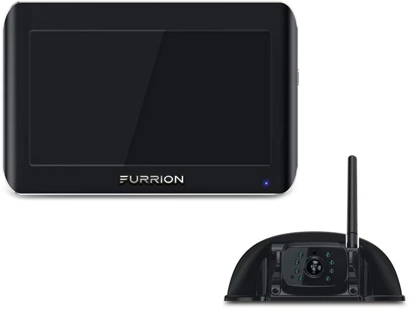 Furrion Vision S 7 Inch Wireless RV Backup System with 1 Rear Sharkfin Camera, Infrared Night Vision and Wide Viewing Angle - FOS07TASF , Black