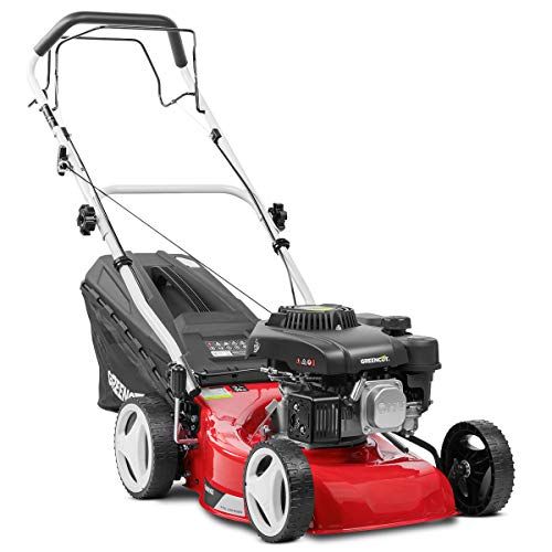"GREENCUT GLM690X - Cortacésped autopropulsado de gasolina 139cc y 5cv con arranque manual y ancho de corte de 407mm (16"") con Altura de Corte Regulable"