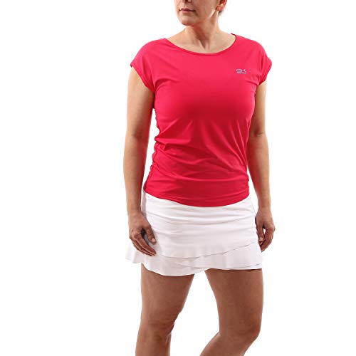 Sportkind Mädchen & Damen Tennis, Fitness, Sport T-Shirt Loose Fit, atmungsaktiv, UV-Schutz UPF 50+, Kurzarm, pink, Gr. XXXL