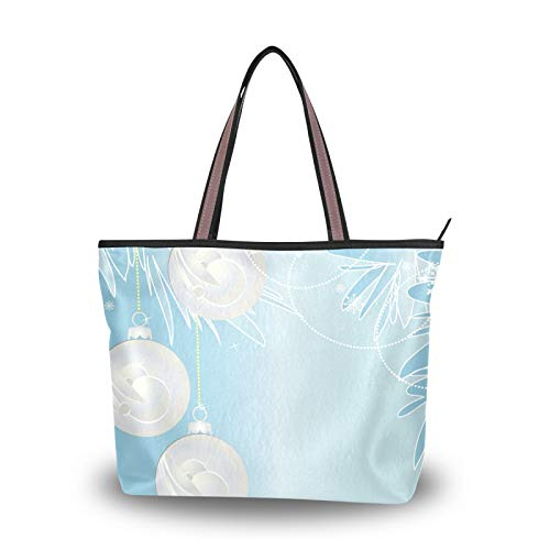 NaiiaN Einkaufstasche Geldbörse Einkaufen für Frauen Mädchen Damen Student Leichter Riemen Handtaschen Frohe Weihnachten Blauer Badmintonball Schöne Umhängetaschen