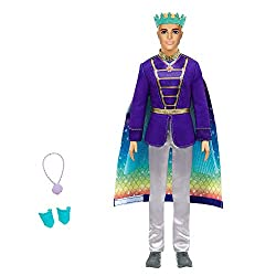 ​This Barbie Dreamtopia Ken doll features a fantastical fashion transformation that takes him from prince to merman in seconds! ​Ken doll comes dressed in a royal suit with a cape that reverses to reveal a merman tail with rainbow print. ​Remove Ken ...