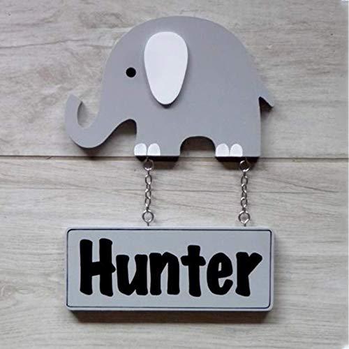 Placa Decorativa para Puerta Infantil Personalizada con tu Nombre y con Forma de Animales (Elefante)