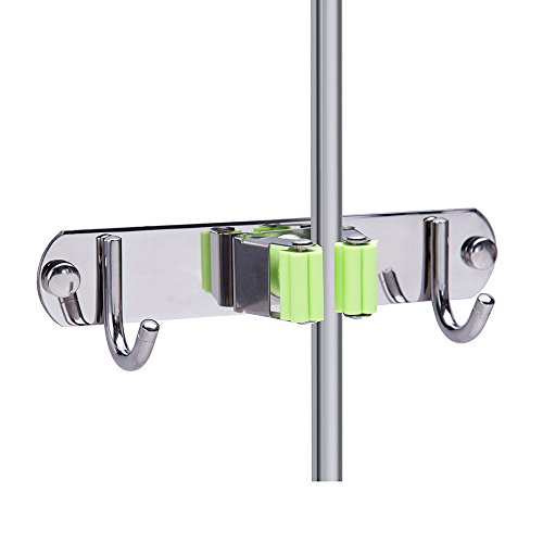 Mop and Broom Holder Wall Mount, Munto Stainless Steel Mop Holders, Garage Storage Racks for Kitchen and Garden (1 positions 2 hooks)