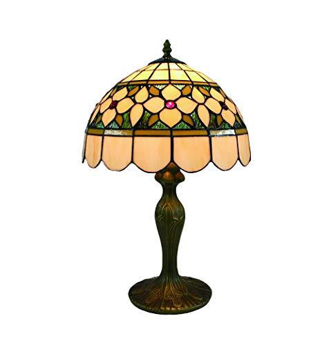 Tokira Tiffany Tischlampe 50 Hoch, 12 Zoll Retro Minimalistischen Stil Glasmalerei Traditionellen Gelben Lampenschirm, Komfortable Art-Deco-Nachtlicht im Wohnzimmer Schlafzimmer