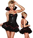Conjuntos De Lencería para Mujer Mujeres Traje De Vampiro Sexy De Látex De Cuero Vestido De Encaje De Múltiples Capas Bruja Exótica Disfraces De Halloween Cospla