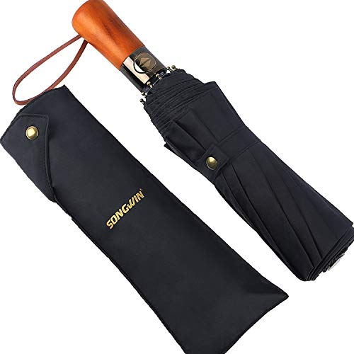 Paraguas Plegables Automático,Paraguas de Viaje a Prueba de Viento Con Revestimiento de Teflón,Paraguas Plegable Impermeable Grande Sol / lluvia,Mango Ergonómico de Madera y 10 Costillas.