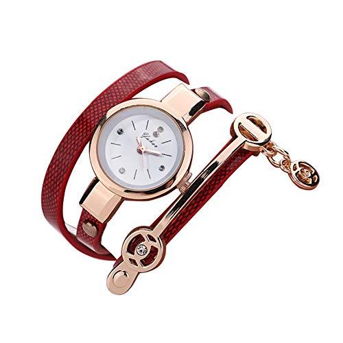 Cuero 1pc Creativo Mujeres Pulsera De Reloj De Cuarzo Capas Multi Wrap Around De Cuero Pulsera De Cuarzo De Relojes De Señora Girls Hombres (Rojo).