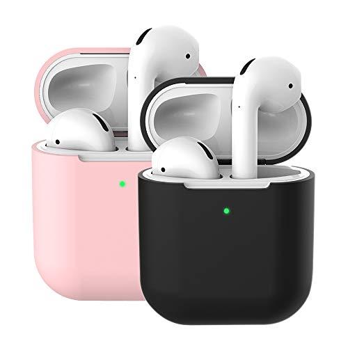 2X coque en silicone pour Apple AirPods 2 & 1, Molylove Case pour Airpods Coque en Silicone Coque Protection Antichoc [Face avant visible] (AirPods 2, Rose + Noir)