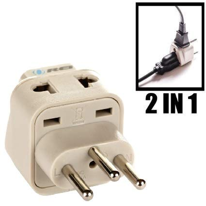OREI Grounded Universal 2 in 1 Plug Adapter Type J for Switzerland & more - CE Certified - RoHS Compliant WP-J-GN