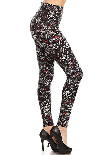 S651-PLUS Snowflake Sprinkles Print Fashion Leggings