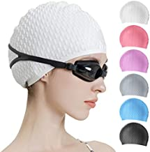 Tripsky Silicone Swim Cap,Comfortable Bathing Cap Ideal for Curly Short Medium Long Hair, Swimming Cap for Women and Men, Shower Caps Keep Hairstyle Unchanged (White)