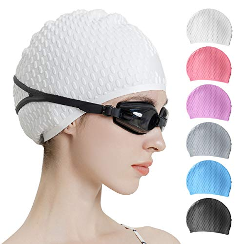 Tripsky Silicone Swim Cap,Comfortable Bathing Cap Ideal for Curly Short Medium Long Hair, Swimming Cap for Women and Men, Shower Caps Keep Hairstyle...