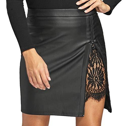 ERLIZHINIAN Patchwork-Spitze-PU-Leder Sexy Minirock Sommer 2019 hohe Taillen-Split Bleistiftrock Zipper Schwarz Röcke for Frauen (Color : Black, Size : M)