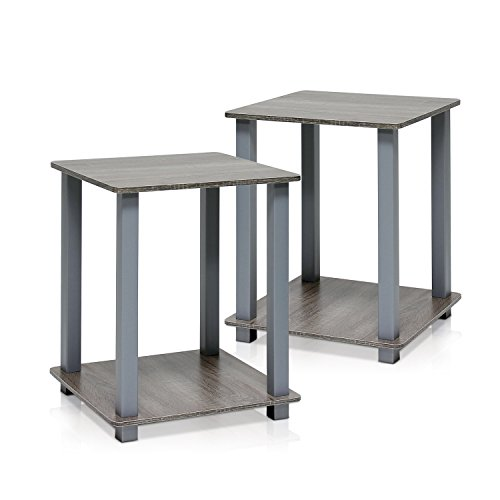 Furinno Simplistic End Table, French Oak Grey/Grey