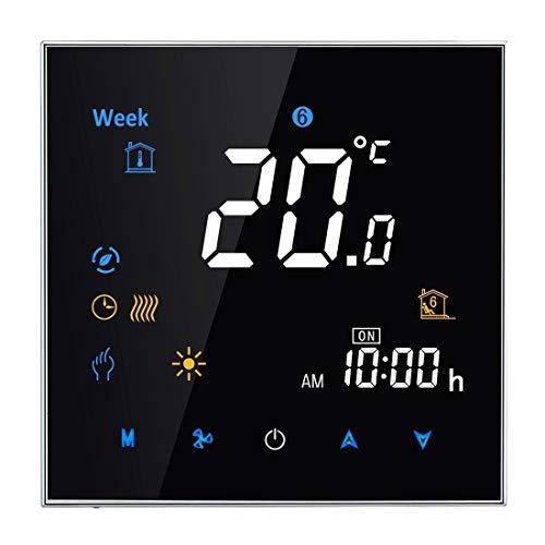 Sunshine20 Termostato Interior, Tipo de calefacción electrónica de Carga 16A Tipo de calefacción Digital LCD Termostato con Sensor, Reloj/Temperatura/Hora/Semana/Calor, etc. (Color : Black)