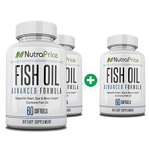 NutraPrice Fish Oil 2000 mg Omega-3 Fatty Acids EPA and DPA, Daily Supplement for Men and Women, Advanced Formula to Support Heart, Eye, Bone, Joint Health, Made in USA, 60 Softgel Capsules (3pk)