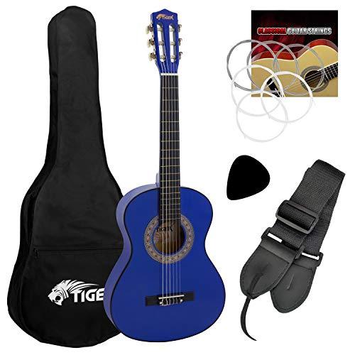 Tiger Beginner 3/4 Size Classical Guitar Pack - Blue Guitar