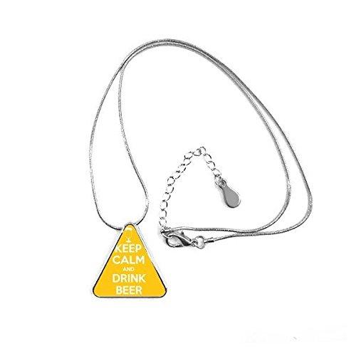 DIYthinker Zitat Behalten Sie Ruhe und Trinken Bier, Weiß, Gelb Cup Lustige Illustration Muster Dreieck-Form Halskette Schmuck mit Kette Dekoration