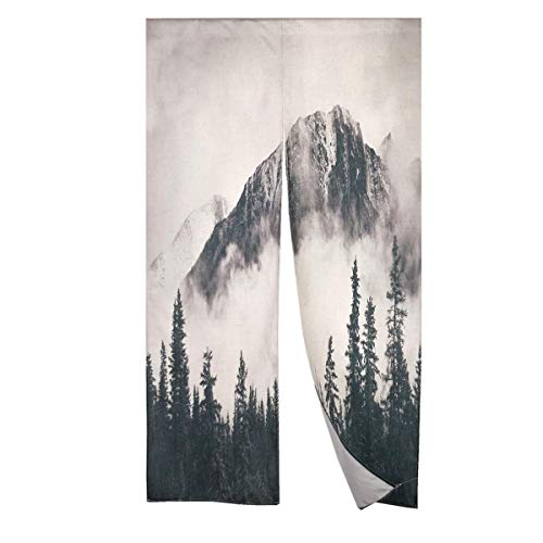 MYRU National Parks Japanese Noren Curtain Mountain Doorway Curtain Tapestry (33 by 59 Inch,Mountain)