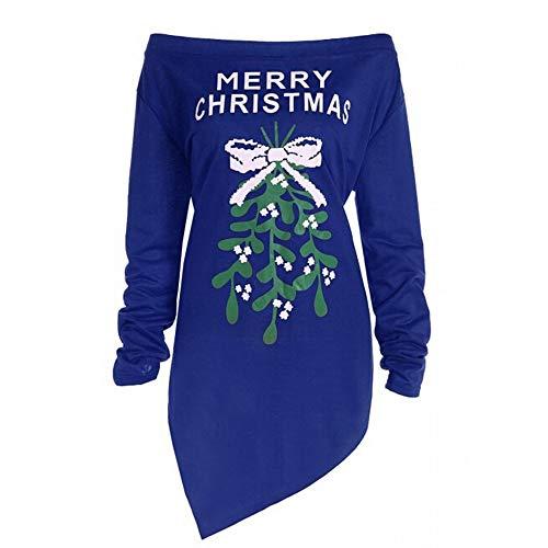 ZEELIY Femme Robe Noël, Robe Mini Sexy Bustier Impression de Lettre Manches Longues Sweatshirt T-Shirt Tunique Mode à Motif Père Noël Chemisier Blouse Idées Cadeaux x_Bleu XXL