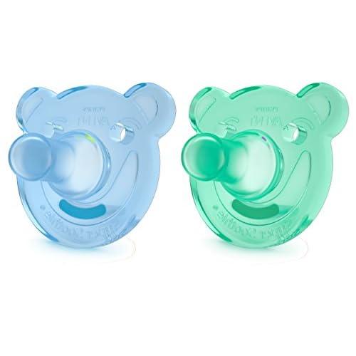 Philips Avent SCF194/04 Ciuccio Morbido Soothie 3M+, Silicone Morbido per Favorire l'Interazione col Bambino/a, Azzurro e Verde